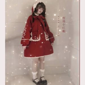 Little Red Riding Hood In Snow Sweet Lolita Hooded Coat (FB62)