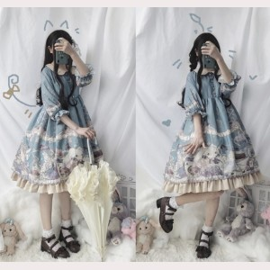 Rabbit And Alice Lolita Style Dress OP (FB63)