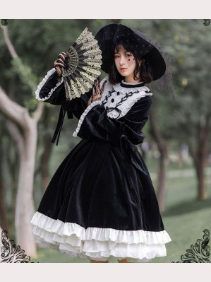 At Dusk Lolita Style Thick Velvet Dress (HA12)