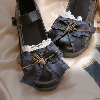 Skeleton Hand Gothic Lolita Style Shoes (HA13)