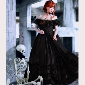Requiem Gothic Lolita Style Dress OP & Veil Set by Souffle Song (SS1016)