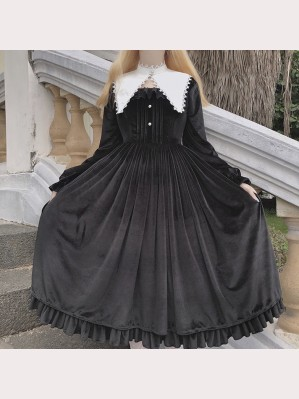 The Nun Gothic Lolita Style Dress OP & Collar Set by Souffle Song (SS1017)