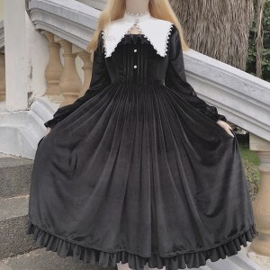 Classic Nun Lolita Style Dress OP & Collar Set by Souffle Song (SS1017)
