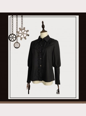 Souffle Song Black Long Sleeve Lolita Blouse (SS918)