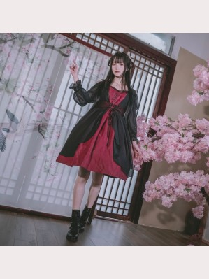 Souffle Song Rose Embrodery Gothic Lolita dress OP (SS953)