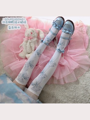 Souffle Song Bowknot Lolita Over Knee Socks Otks (SS969)