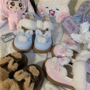 Fleece Rabbit Sweet Lolita Winter Shoes by Gururu (GU12)
