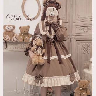 Caramel Teddy Bear Sweet Lolita Dress OP by AnnieParcel (AP02)