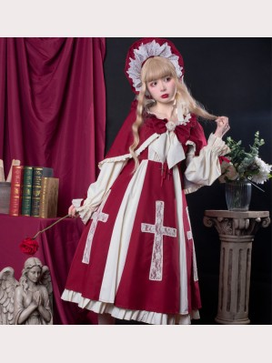 Cross Deed Gothic Lolita Dress OP + Cloak Set by AnnieParcel (AP04)
