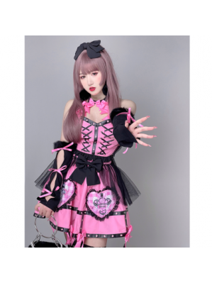 Love & Desire Kawaii Goth Top & Skirt Set by Diamond Honey(DH66)