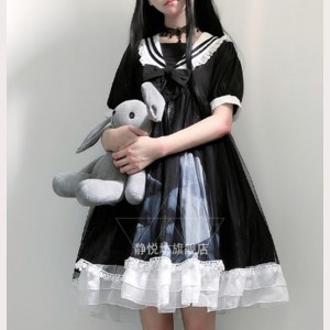 The Moon Gothic School Lolita Style Dress OP by JingYueFang (YJ18)