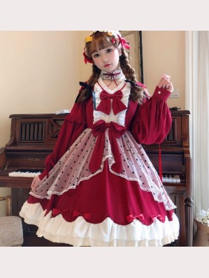 Burgundy Snow White Lolita Style Dress OP & Choker Set by JingYueFang (YJ19)