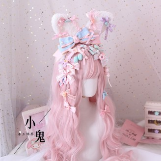 Fairy Kei Kawaii Bunny Ears Headband + 19 Hair Clips Set (LG29)