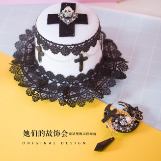 Moon Skeleton Gothic Style Lolita Hair Accessory (MX02)
