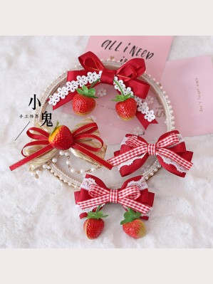Sweet Strawberry Hair Accessories Set (Hair Clips x 4 pcs) (LG30)