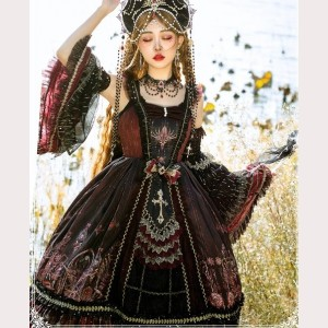 The Eye Of Red Heart Gothic Lolita Dress JSK / Full Set (SF03)