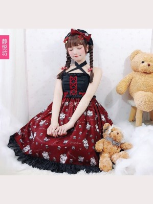 Devil Bear Gothic Lolita Style Dress JSK by JingYueFang (YJ01)