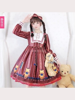 Crown Sweet Bear Lolita Style Dress OP by JingYueFang (YJ07)