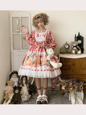 Stamp Bear Sweet Lolita Style Dress OP by JingYueFang (YJ08)