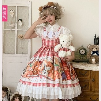 Stamp Bear Sweet Lolita Style Dress JSK by JingYueFang (YJ09)