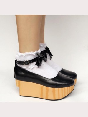 Wood Grain Lolita Platform Shoes (lf170)