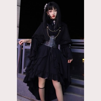 Gothic Military Lolita Style Dress OP & Cloak Set by Souffle Song (SS1023)
