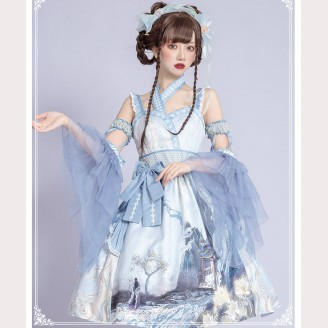 Peony Pavilion Qi Lolita Style Dress JSK by YingLuoFu (SF53)