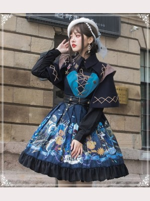 Abysm Vintage Style Lolita Dress JSK + Cloak Set by YingLuoFu (SF12)