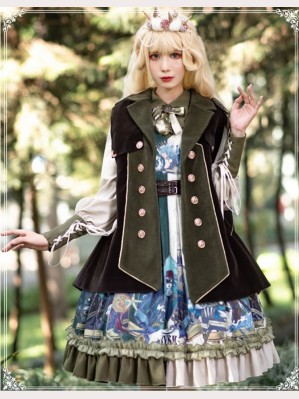 Abyss Vintage Style Lolita Dress OP + Cloak Set by YingLuoFu (SF13)
