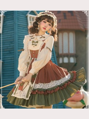 The Country Girl Lolita Dress JSK + KC + Blouse Set by YingLuoFu (SF19)