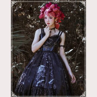 The Vampire Diaries Gothic Style Lolita Dress JSK Full Set (6 items) by YingLuoFu (SF29)