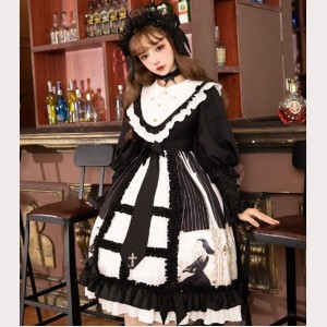 Dark Goldenrod Song Gothic Style Lolita Dress OP + Accessories Set by YingLuoFu (SF36)
