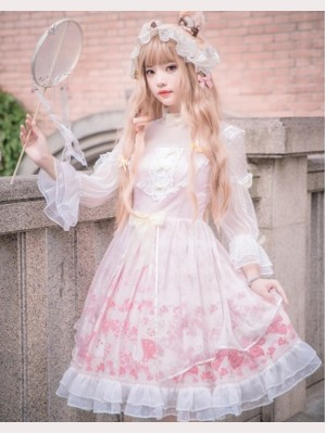 Cherry Blossom Season Lolita Dress OP + Headdress Set by YingLuoFu (SF41)