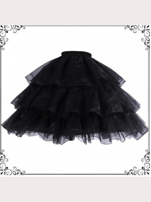 Black Adjustable Long Lolita Petticoat by YingLuoFu (SF47)