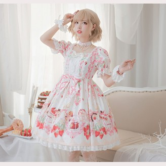 Strawberry Feast Sweet Lolita Dress OP by Milu Forest (MF13)