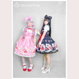 Diamond Honey Strawberry Diamond Heart lolita dress JSK