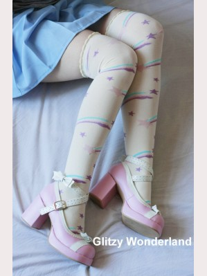 Yellow Shooting Star Lolita Socks