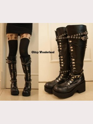 "3"" heels lace up boots"