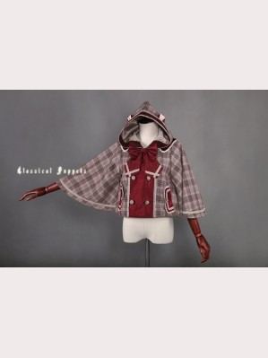 Classical Puppets Cat Series Scottish Cat Hooded Cloak Short Coat