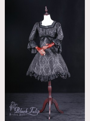 Classical Puppets Broken Doll-Black Tulip Dress OP (Long Sleeve)