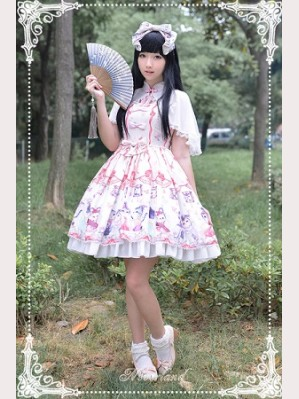 Souffle Song Chinese Walking Cat Lolita Dress JSK & Cape Set- Design 1