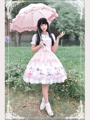 Souffle Song Chinese Walking Cat Lolita Dress JSK & Cape Set - Design 2