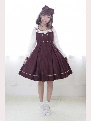 Souffle Song Morning Star Icon School Cross Strap Lolita Dress JSK