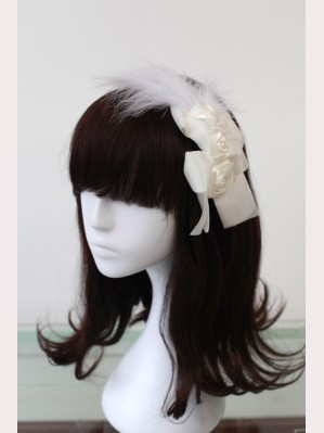 Souffle Song White Feather Rose  Headbow