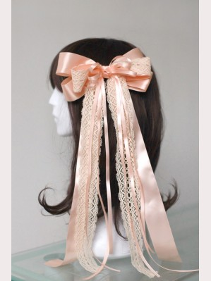 Souffle Song Long Lace Bowknot Lolita Hairclip