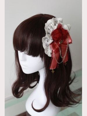 Souffle Song Rose Ribbon Lolita Hairclip