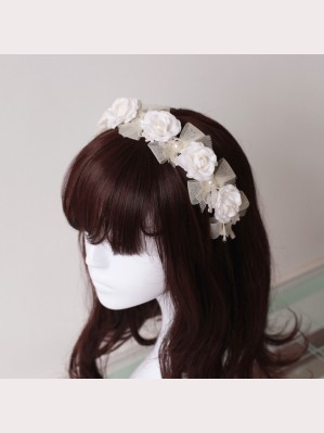 Souffle Song Pearl Lace Bowknot Lolita Headbow