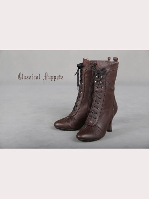 Classical Puppets Steam Victorian Leather High-Heeled Boots