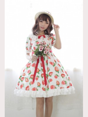Souffle Song Strawberry Sweet Heart Bubble Lolita Dress OP