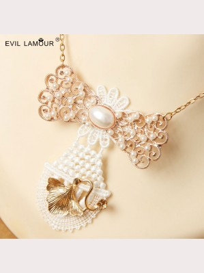 Evil Lamour Handmade lace pearl necklace ac4